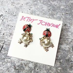 BETSEY JOHNSON Big Belly Frog & Ladybug Earrings